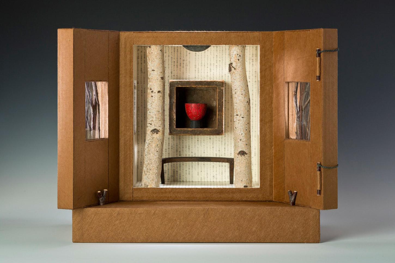 "Tea House North (altarpiece, open), 11"" x 14"" x 7"" (2012)"
