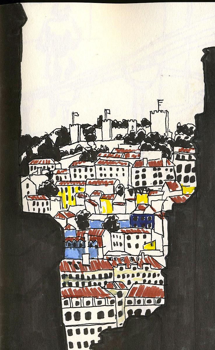 """01. View of Lisbon Castle. Pen & watercolor, 8.5"""" x 5.3"""", 2011"""