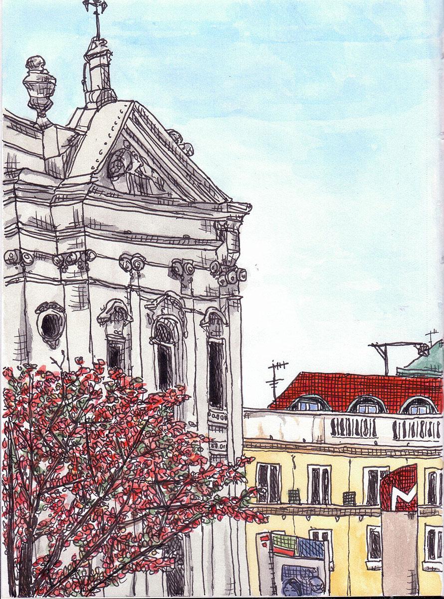 "02. Italian church in Baixa Chiado, Lisbon. Pen & watercolor, 8.2"" x 6.1"", 2010"