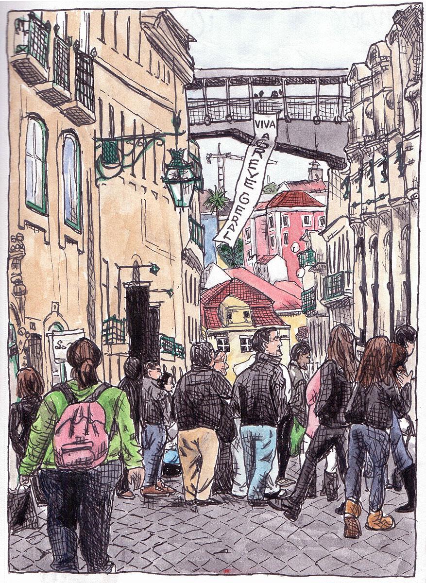 """03. Crowd in Baixa Chiado, Lisbon. Pen & watercolor, 8.2"""" x 6.1"""", 2010"""
