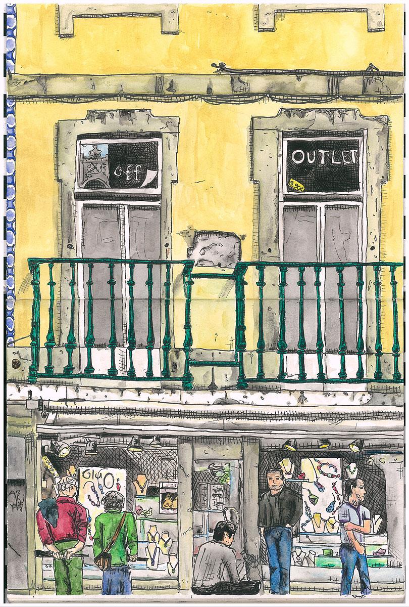 """04. Rua Augusta, Baixa, Lisbon. Pen & watercolor, 13"""" x 8.7"""", 2010"""