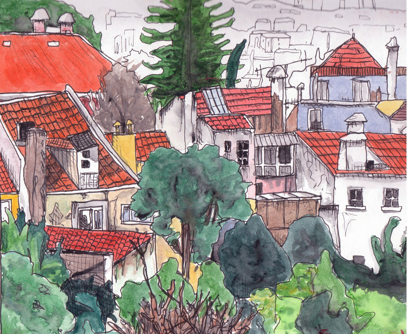 """05. View from my aunt's house in Telheiras, Lisbon. Pen & watercolor, 6"""" x 7.4"""", 2011"""