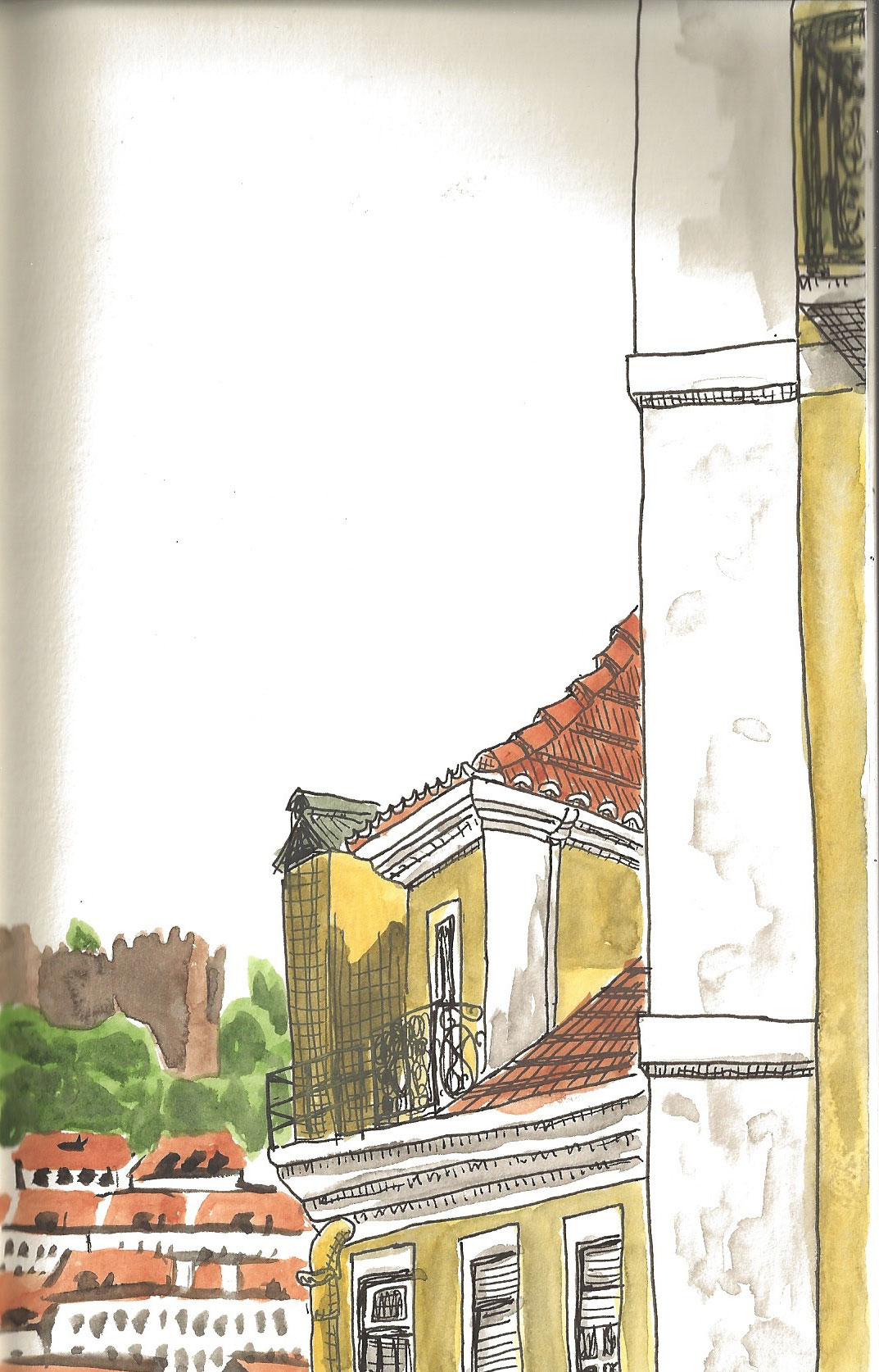 """06. View of a building and the castle from Calçada do Duque, Lisbon. Pen & watercolor, 8.5"""" x 5.3"""", 2011"""