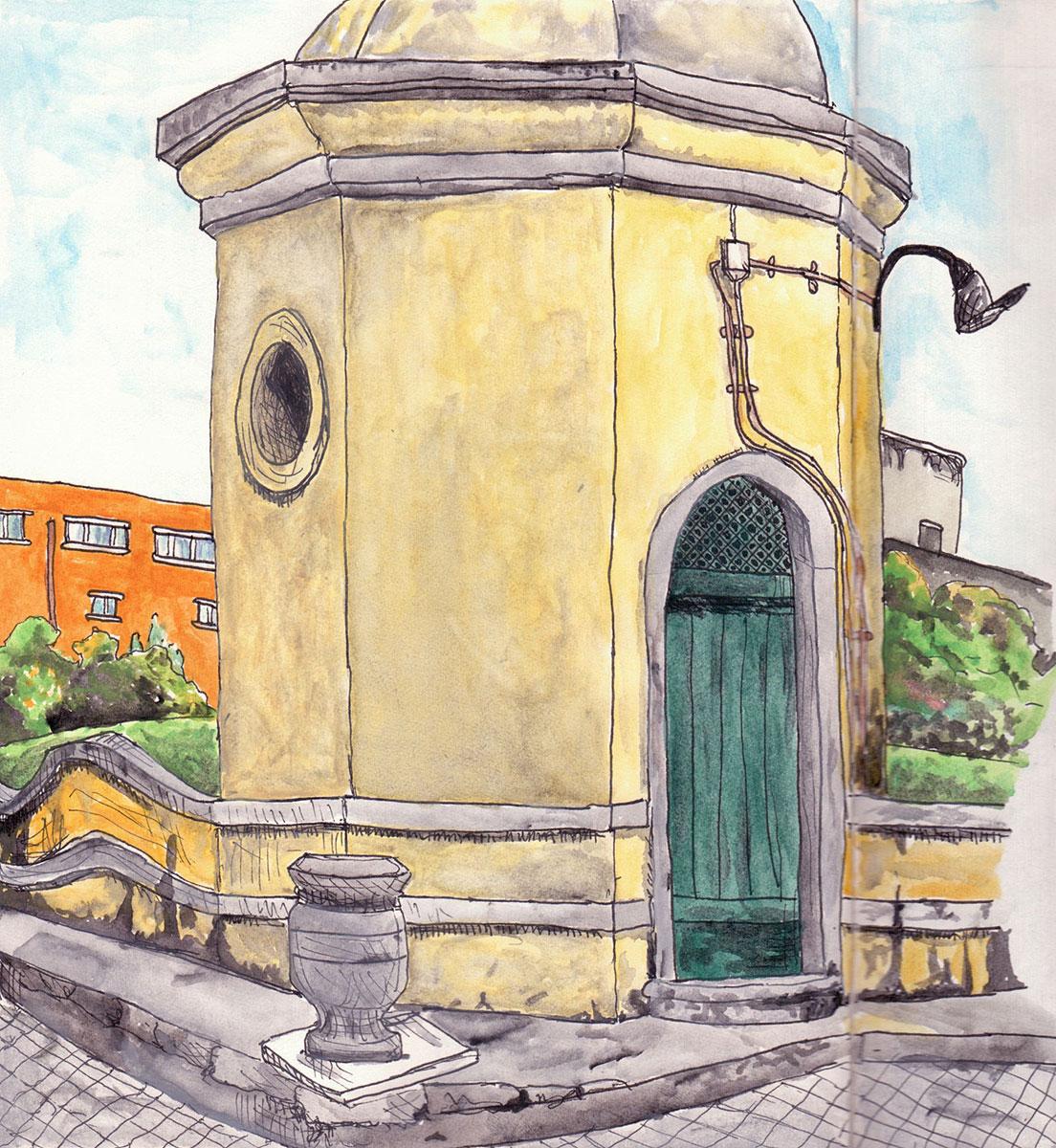 "07. Museu da Água, Lisbon. Pen & watercolor, 8.7"" x 8.3"", 2010"