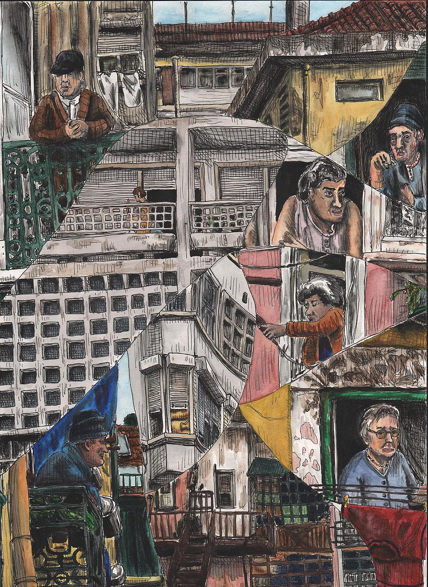 """08. Lisbon Stories. Pen & watercolor, 16.5"""" x 11.6"""", 2013"""