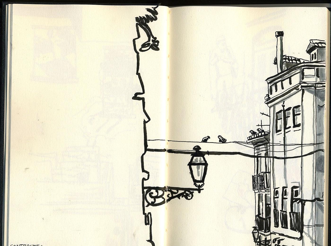 "09. Bica, Lisbon. Pen & watercolor, 8.5"" x 10.6"", 2011"