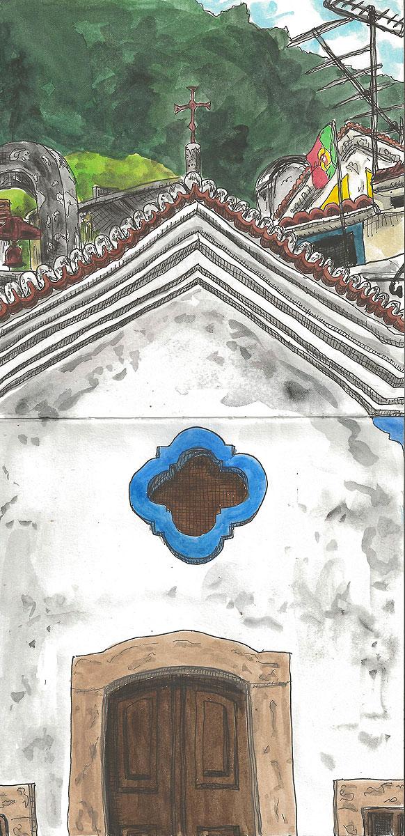 """15. Church in Sintra. Pen & watercolor, 11.6"""" x 5.7"""", 2012"""