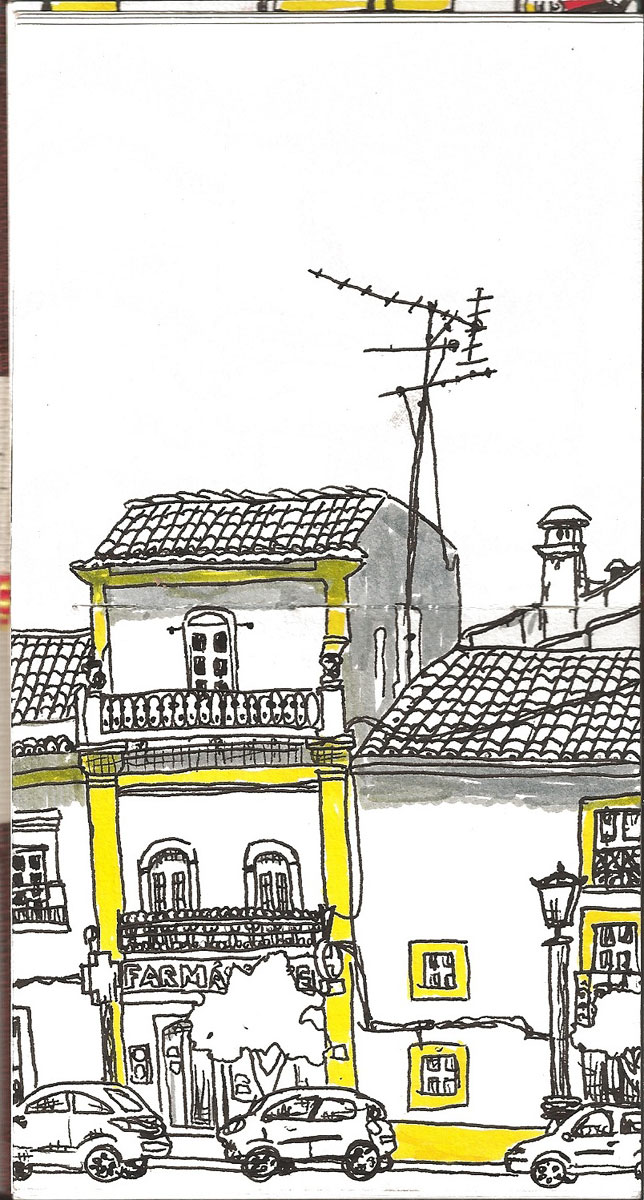 """16. Vila Viçosa, Alentejo. Pen & watercolor, 5"""" x 7.9"""", 2011"""