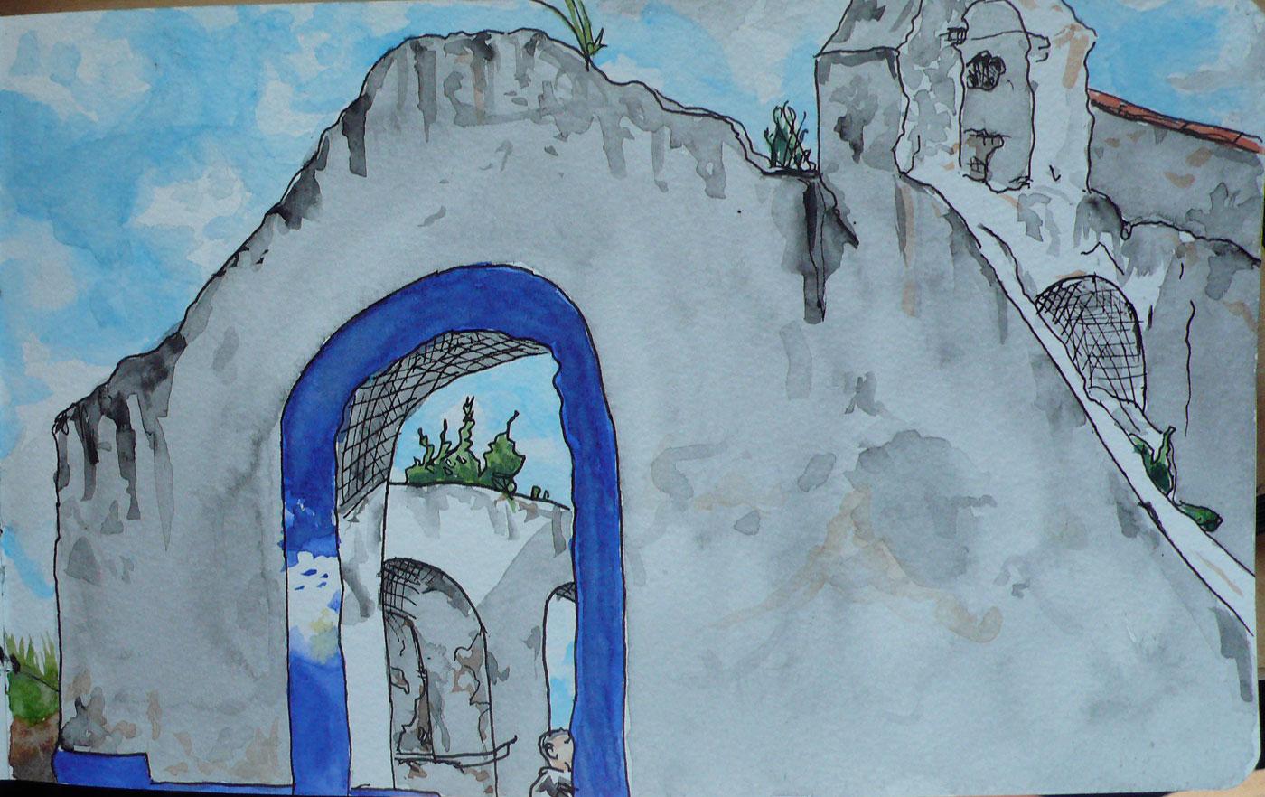 "17. Ruins in Santiago do Caçem, Setúbal. Pen & watercolor, 5"" x 7.9"", 2011"