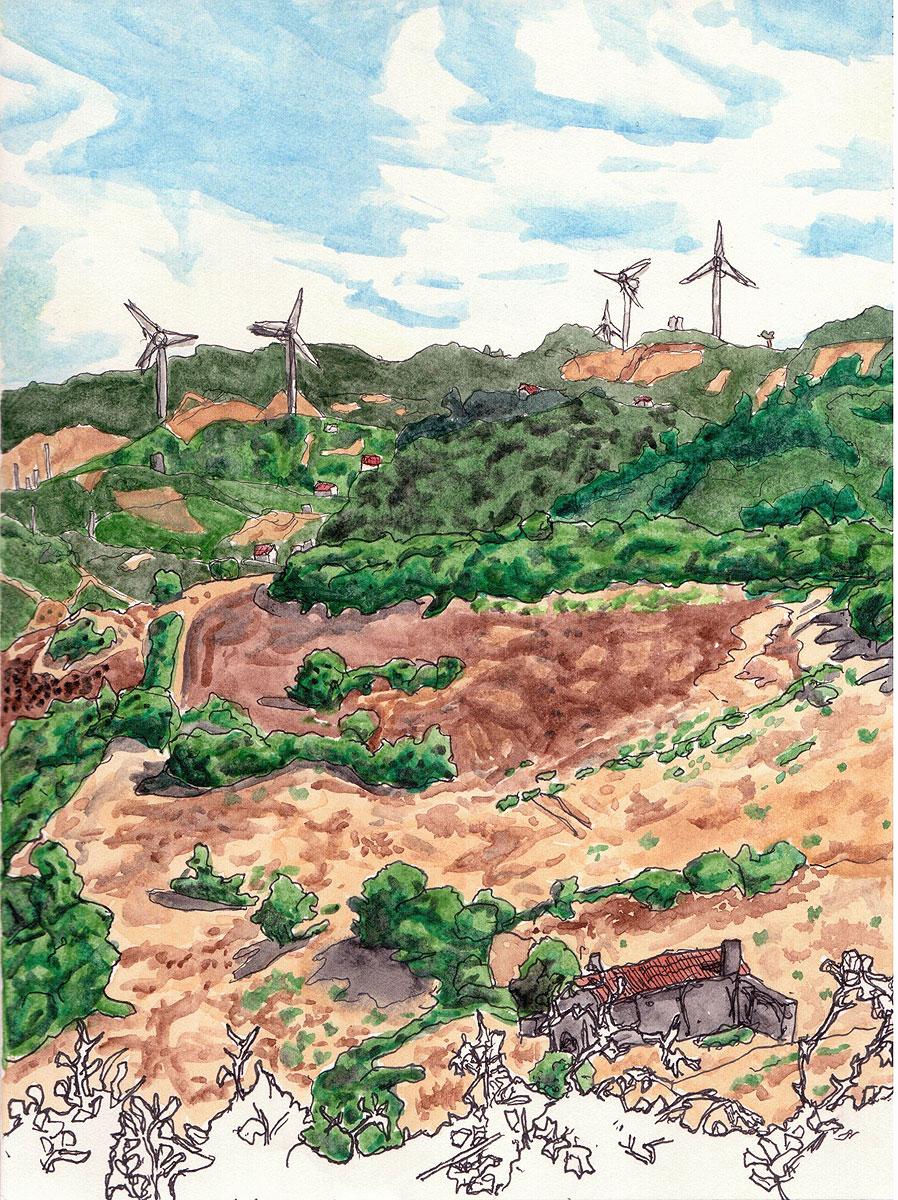"18. Portuguese countryside. Pen & watercolor, 8.7"" x 6.5"", 201"
