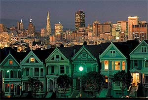 San Francisco neighborhood and skyline.