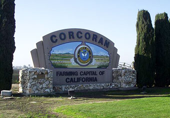 Sign for Corcoran: Farming Capital of California