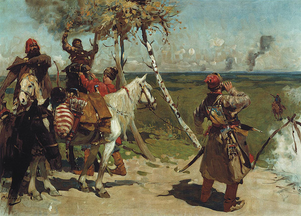 "Sergey Vasilievich Ivanov's ""At the Southern Border"", 1907."