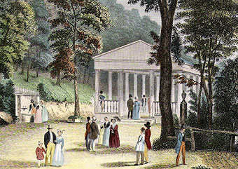 """Bedford Springs, PA"" hand-colored engraving by A. Koelner for Graham's Magazine, 1830."