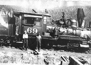 Bill Thomas in 1937 with engine #69, the last train to leave Frisco.