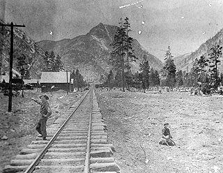 Kids on the Denver and South Park railway tracks that ran along the alley between Main Street and Galena Street.