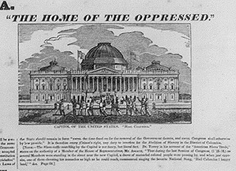 "Englargement of the ""Slave Market of America,"" noting ""The Home of the Oppressed,"" with slaves paraded in front of the Capitol."