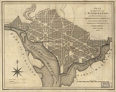 "Plan of the City of Washington, dated 1793, and reading ""now building for the Metropolis of America, and established as the permanent residence of Congress after the year 1800."""