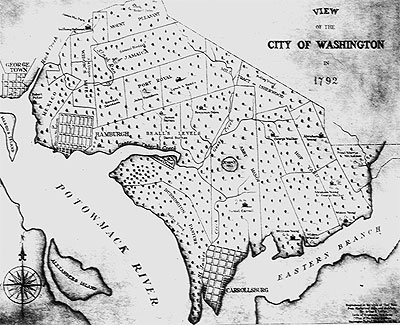 Cadastral map of the City of Washington in 1792, also showing the townships of Georgetown, Hamburgh, and Carrollsburg.