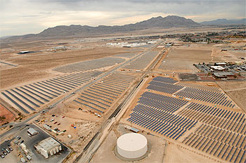 Solar array installation at Nellis Air Force Base.