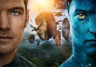 Avatar's Jake Sully in human and avatar form.