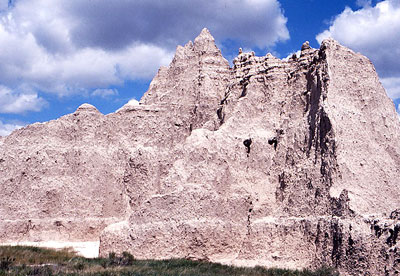 Eroded spire of sediments typical of the mauvaises terres or badlands, South Dakota