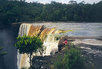 On the Potaro River, the 741-foot Kaieteur Falls in central Guyana is one of the world's most powerful waterfalls.