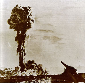 """Atomic Annie"" test at Frenchman Flats, Nevada Test Site."