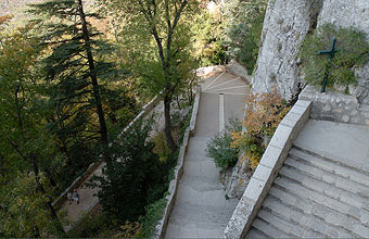 The stairs leading to the Grotto at La Sainte Baume.