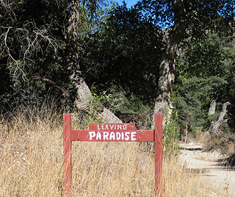 Leaving Paradise sign.