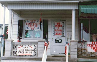 "image, Centralia front porch in 1983--""Set Centralia Free in '83."" Photo courtesy www.CentraliaPA.com."