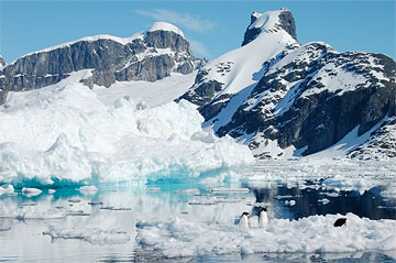 Mountain and floating ice in Antarctica. Photo by Lucy Jane Bledsoe.