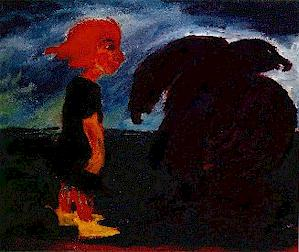 "Emil Nolde's ""Child and Large Bird,"" 1912, courtesy of Mark Harden's Artchive"