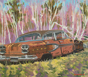 Dead Pontiac (Spring), painting by James Howard Kunstler