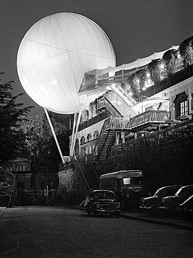 A night view of the globe in the Without Borders Exhibition, Mosebacke, Stockholm, 1957.