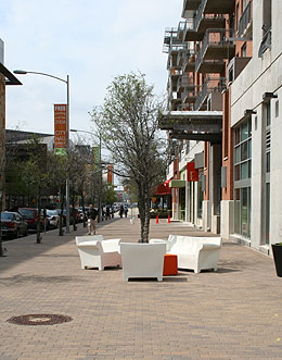 Streetscape and furniture along Second Street.