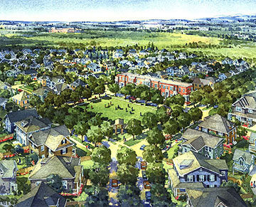 Aerial conceptual drawing of the Bradburn Green at Bradburn Village.