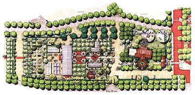 Landscape design plan for the agro-commercial area.