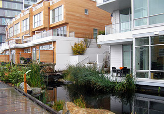 Townhouses with decks overlooking Dockside