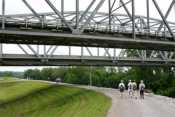 Exploring the Missouri Riverfont Trail in Riverside, Missouri, on National Trails Day 2007.