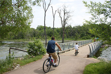 Cyclists on trail at Gregory O. Grounds Park