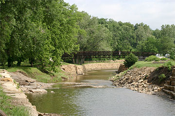 Creekside trails and open space at Werner Park in Merriam, Kansas.