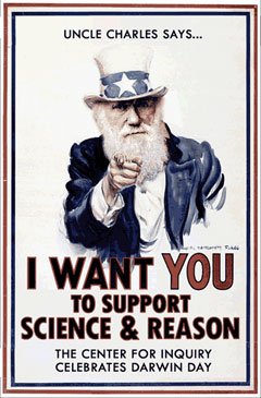 Poster: I want YOU to support science and reason.