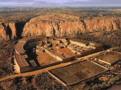 Rendering of Chaco Canyon's Casa Bonito—the area's largest site at 600 rooms that was in use from roughly 850 A.D. to 1150 A.D. Image courtesy National Park Service.