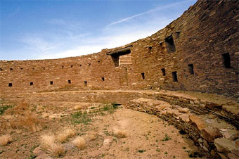 Casa Rinconada is a great subterranean kiva that has been carefully aligned to true cardinality. Photo by Russ Bodner, courtesy National Park Service.