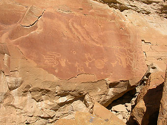 Chaco Canyon panel of petroglyphs. Photo by Elizabeth Dodd.