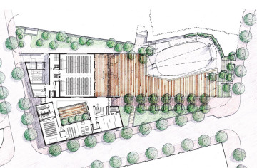 Rendering and site map for Veterans' Plaza