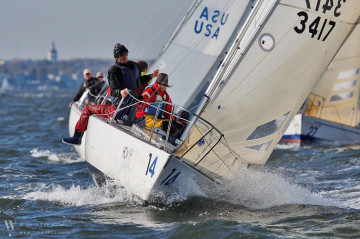Kate Miles aboard sailboat