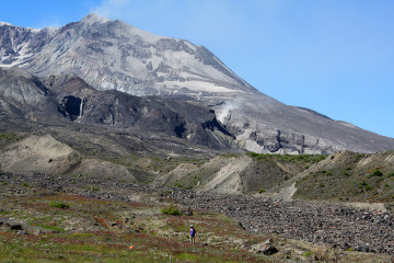 Scientist on the Pumice Plain at Mount St. Helens