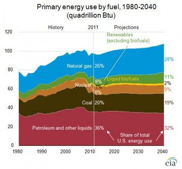 U.S. energy forecast by fuel source
